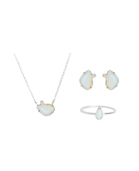 1046744 - <JS59_BE08> [necklace + earrings + ring] [Silver] Tena set