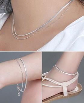 1046745 - <JS58_BD06> [necklace + bracelet + anklet] [Silver] Freeze snake ball set