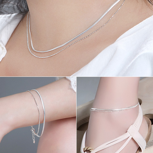 1046745 - <JS58_BD06> [necklace + bracelet + anklet] [Silver] Freeze snake ball set