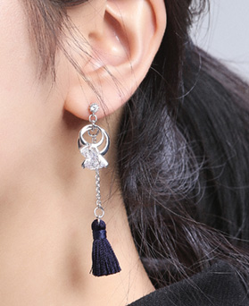 1046776 - <ER1641_CE24> [Silver Post] twin ring tassel earrings