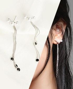 1046782 - <ER1619_CD16> [Silver Post] bote pearl long earrings