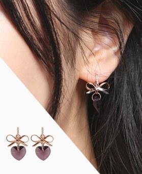 1046784 - <ER1617_DD12> [Silver Post] レ オ ー ル ribbon earrings