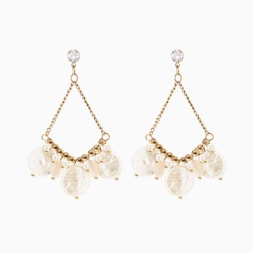 1046807 - <ER1569_GG01> [clip type] yuba pearl earrings