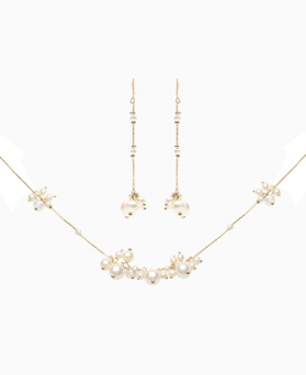 1046818 - <JS64_IE17> [necklace + earrings] chans pearl set
