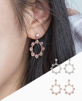 1046838 - <ER1635_DK07> [Silver Post] Cleo earrings