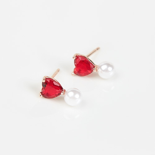 1046868 - <JS300_BE06> [Silver] Shabby heart earrings