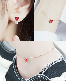 1046871 - <JS300_BE06> [earrings + bracelet + anklet] [Silver] shabby heart set