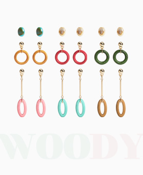 1046942 - <ER1672_CG12> [6Piece 1set] Woody round earrings