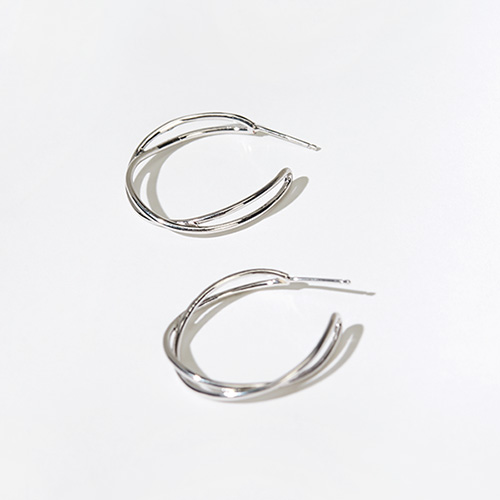 1046997 - <ER1696_DL11> [Silver Post] color wave earrings