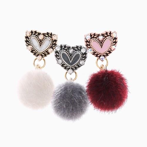 1046338 - <ER1497_DC15> [Silver Post] heart Ann mink earrings