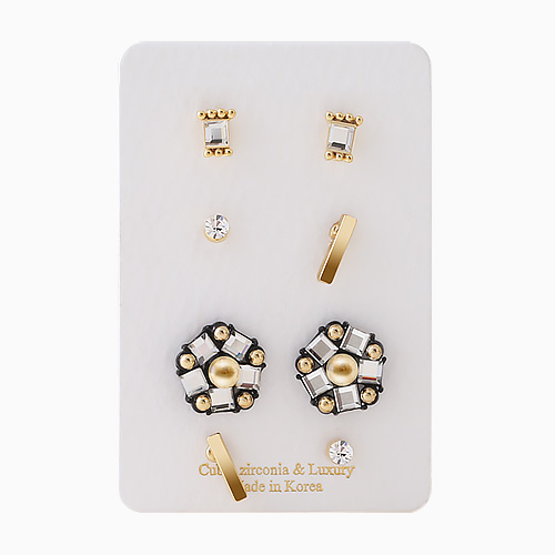 1046358 - <ER1511_CA08> [8Piece 1set] smoky Flower earrings