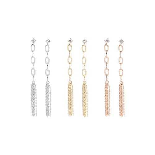 1046933 - <ER1664_DA13> [Silver Post] Badeli chain earrings