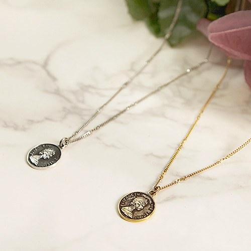 1047104 - <NE496_BB13> [Silver] antique indira coin necklace