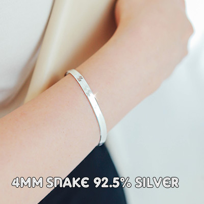 1043385 - <BC355-IH00> [Same day shipping] [Silver] 4mm snake chain bracelet
