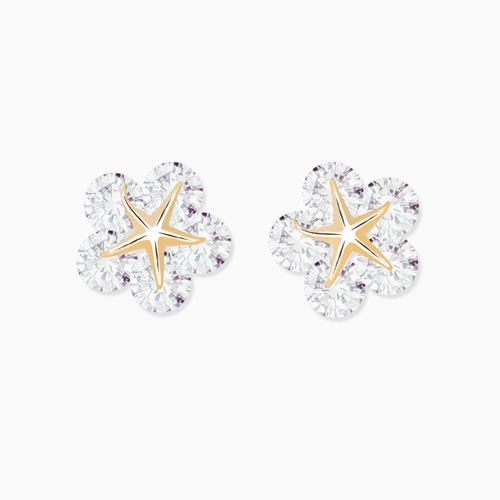1046260 - <ER1469_GH13> [10K Gold] Wendy cubic Flower earrings