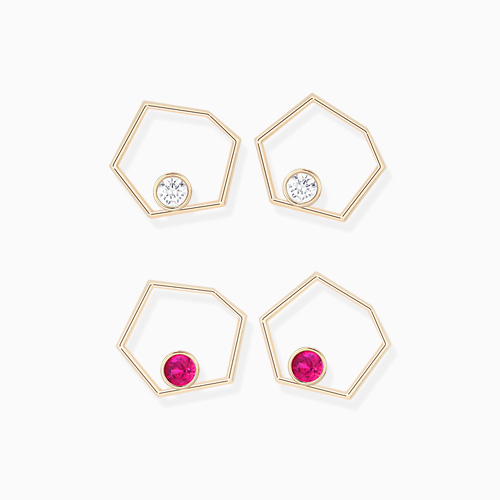1046310 - <ER1494_GF20> [10K Gold] Hexagon line cubic earrings
