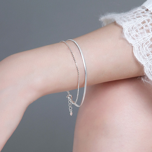 1046732 - <BC713_BD06> [Silver] Freeze snake ball bracelet