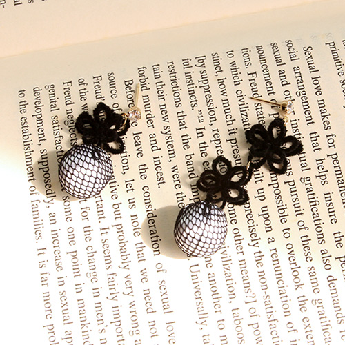 1047136 - <ER1760_IH12> [clip type] black Flower earrings