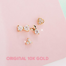 229682 - <K14J009-GL17> [Selling a pair] [10K Gold] tiny world earrings