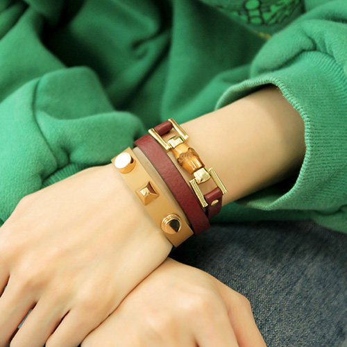 1047187 - <BC738_HF09> Leo 2line leather bracelet