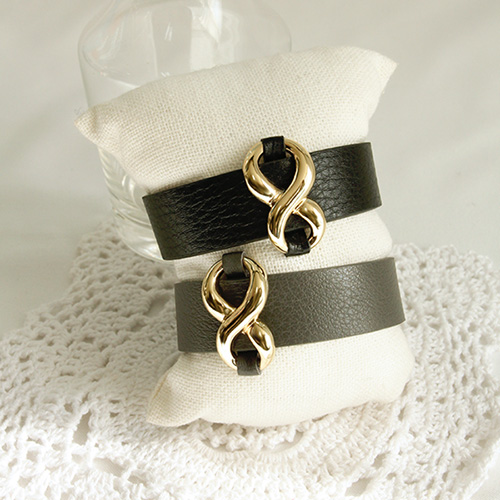 1047191 - <BC740_HG07> chic infinity leather bracelet