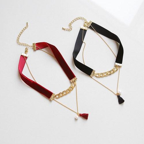 1045050 - <NE363_BB00> Velvet tassel choker necklace