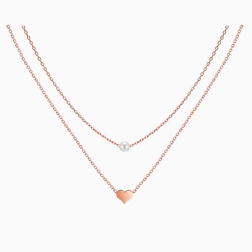 1045465 - <NE392_ID03> Heart Pearl Line Necklace