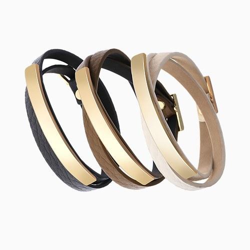1046289 - <BC703_HE07> Endy 2line leather bracelet