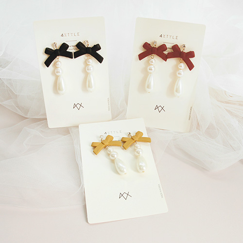 1047141 - <ER1744_CD05> [clip type] Kira ribbon & pearl earrings