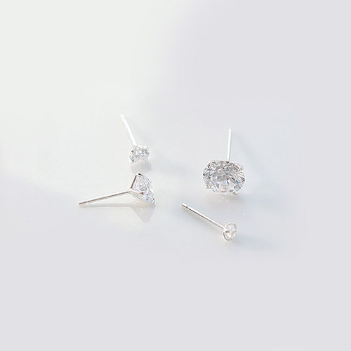 1977 - <SL341-BD06> [Same day delivery] [Sale pair] [Silver] tidy cubic earrings