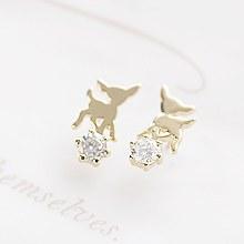 14680 - <ER486-DL22> [Silver] cubic on Bambi earrings