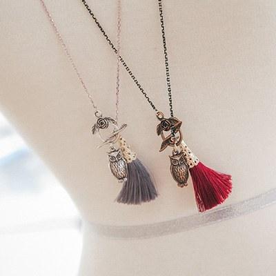 1043597 - <NE229-BB02> owl & tassel long necklace