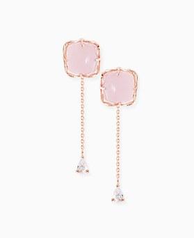 1045924 - <ER1399_CD11> [Silver Post] rose gemstone earrings
