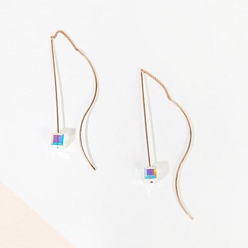 1046998 - <ER1695_DE16> [TVN star sponsored by hundreds of stars] carry cubes drop earrings
