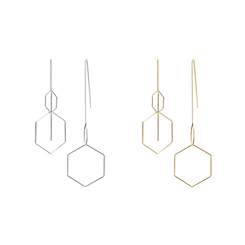 1047216 - <ER1793_DJ21> double hexa drop earrings