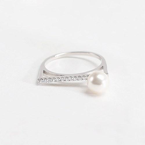 1047220 - <RI805_AB19> [Silver] Linda pearl stick ring