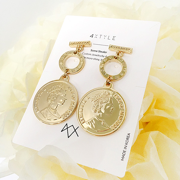 1047241 - <ER1780_GE19> [clip type] Gold coin earrings