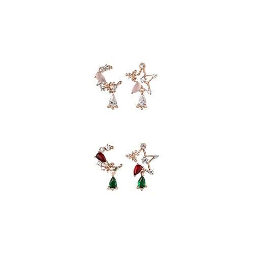 1047243 - <ER1807_DC20> [Silver Post] Low Lang Moonstar Unbalanced Earrings