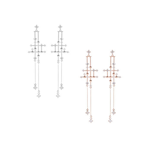 1047252 - <ER1812_CC16> [Silver Post] PUNA cross earrings