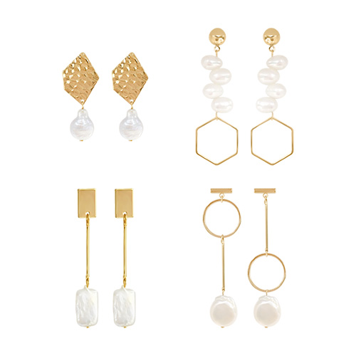 1047193 - <ER1778_CG09> [Ver.2] Manny pearl & Gold earrings