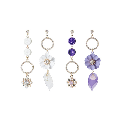 1047292 - <ER1822_CA16> [clip type] Demi Flower Unbalanced earrings