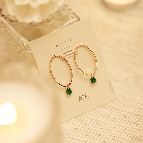 1047312 - <ER1833_CB09> [Silver Post] Bridgette cubic earrings
