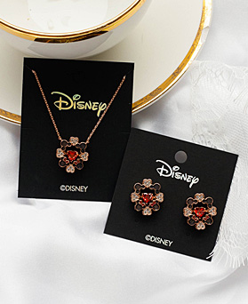 1049364 - <JS350_IG16> [earrings + necklace] [Disney Genuine] Mickey Mini heart set