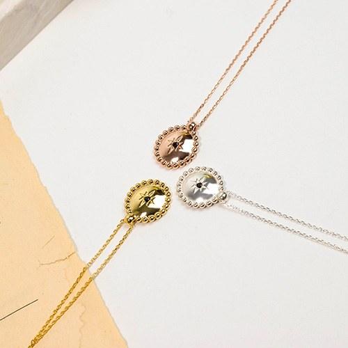 1049369 - <NE587_BB19> [Silver] Solar round necklace