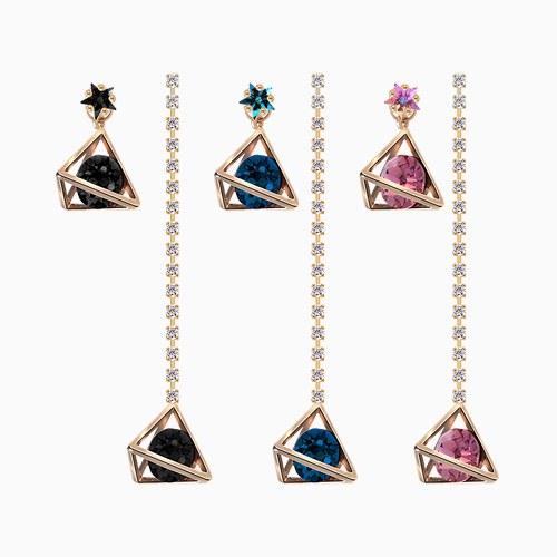 1045495 - <ER1249_GK26> [Silver Post] Swarovski Unbalanced drop earrings