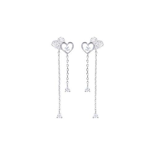 1046697 - <ER1589_BH01> [Silver] Valerie two heart earrings