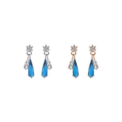 1047019 - <ER1703_DB15> [Silver Post] Teron Blue cubic earrings