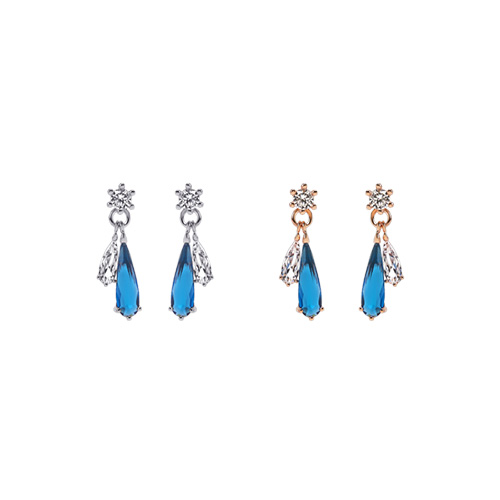 1047229 - <ER1703_DB15> [clip type] Teron Blue cubic earrings