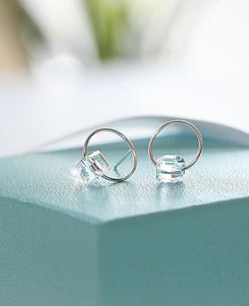 1044400 - <ER997_GF21> [Descendant of the sun Kang Mo Yeon] [Silver] lohas crystal earrings