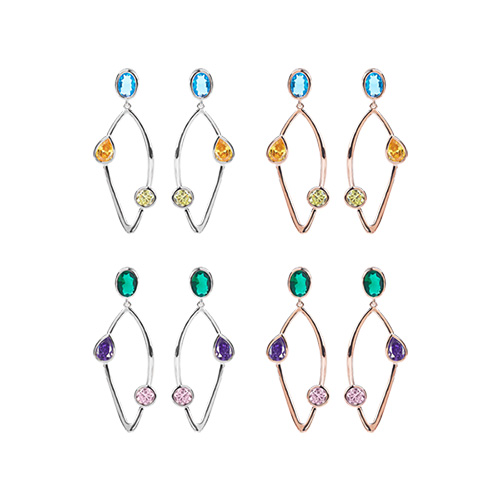 1047377 - [Silver Post] Magic cubic earrings